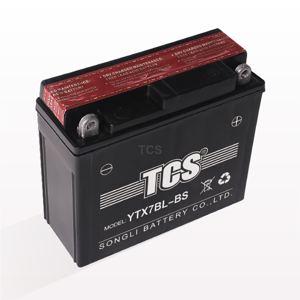 Motorcycle battery maintenance free TCS YTX7BL-BS