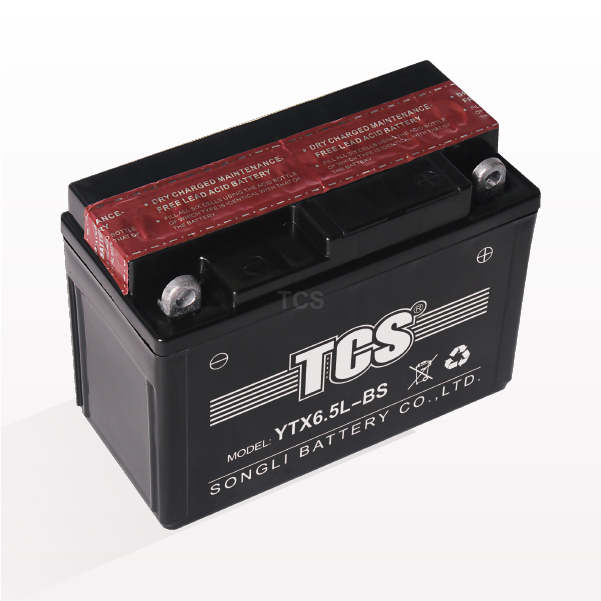 Motorcycle battery dry charged maintenance free TCS YTX6.5L-BS