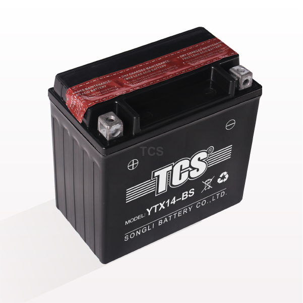 TCS dry charged maintenace free lead acid motorcycle battery YTX14-BS