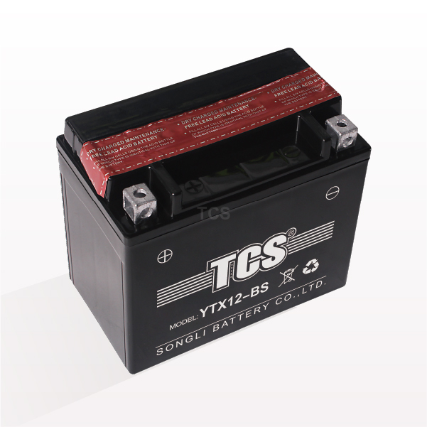 Motorcycle battery dry charged maintenance free AGM TCS YTX12-BS