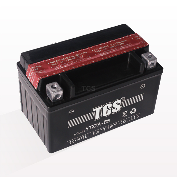 TCS motorcycle battery maintenance free YTX7A-BS